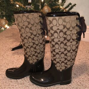 COACH Brown Tristee Faux Fur Lined Tall Rain Boot
